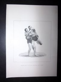 Badminton Library 1893 Wrestling Print. Inside Lock Or Click, Cornwall And Devon